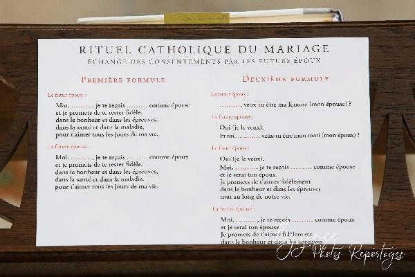 Rituel catholique de mariage.