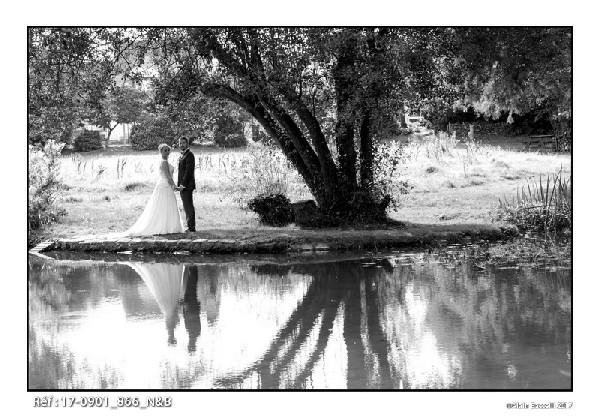 Les mariés au bord du miroir d'eau